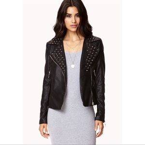 Forever 21 Spiked Collar Moto Leather Jacket
